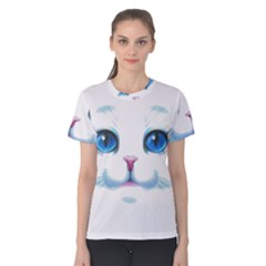 Cute White Cat Blue Eyes Face Women s Cotton Tee