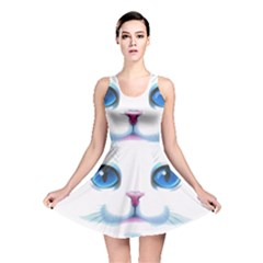 Cute White Cat Blue Eyes Face Reversible Skater Dress