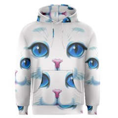 Cute White Cat Blue Eyes Face Men s Pullover Hoodie