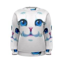 Cute White Cat Blue Eyes Face Women s Sweatshirt