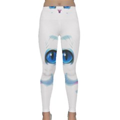 Cute White Cat Blue Eyes Face Classic Yoga Leggings