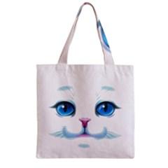 Cute White Cat Blue Eyes Face Zipper Grocery Tote Bag