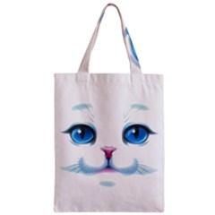 Cute White Cat Blue Eyes Face Zipper Classic Tote Bag