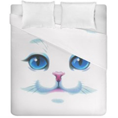 Cute White Cat Blue Eyes Face Duvet Cover Double Side (california King Size)