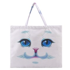 Cute White Cat Blue Eyes Face Zipper Large Tote Bag