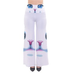 Cute White Cat Blue Eyes Face Pants
