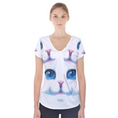 Cute White Cat Blue Eyes Face Short Sleeve Front Detail Top