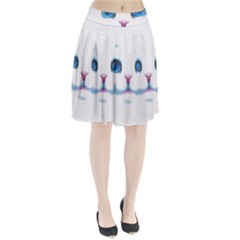 Cute White Cat Blue Eyes Face Pleated Skirt