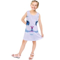 Cute White Cat Blue Eyes Face Kids  Tunic Dress