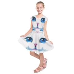 Cute White Cat Blue Eyes Face Kids  Short Sleeve Dress