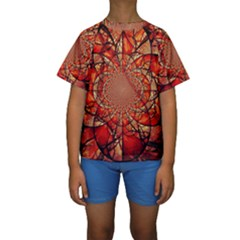 Dreamcatcher Stained Glass Kids  Short Sleeve Swimwear