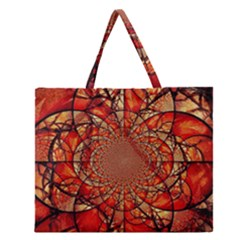 Dreamcatcher Stained Glass Zipper Large Tote Bag