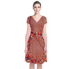 Dreamcatcher Stained Glass Short Sleeve Front Wrap Dress