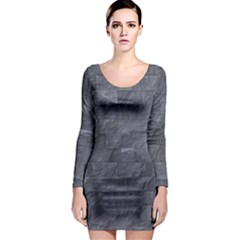 Excellent Seamless Slate Stone Floor Texture Long Sleeve Bodycon Dress