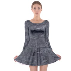 Excellent Seamless Slate Stone Floor Texture Long Sleeve Skater Dress