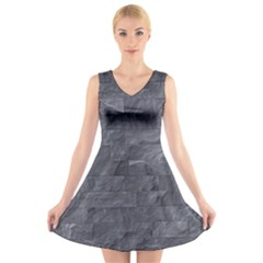 Excellent Seamless Slate Stone Floor Texture V Neck Sleeveless Skater Dress