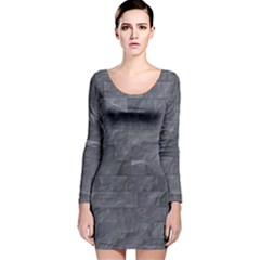 Excellent Seamless Slate Stone Floor Texture Long Sleeve Velvet Bodycon Dress