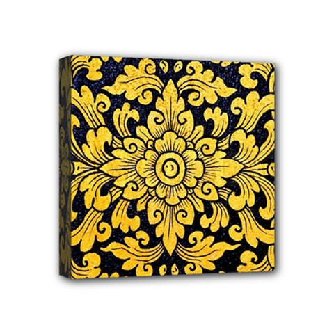 Flower Pattern In Traditional Thai Style Art Painting On Window Of The Temple Mini Canvas 4  X 4