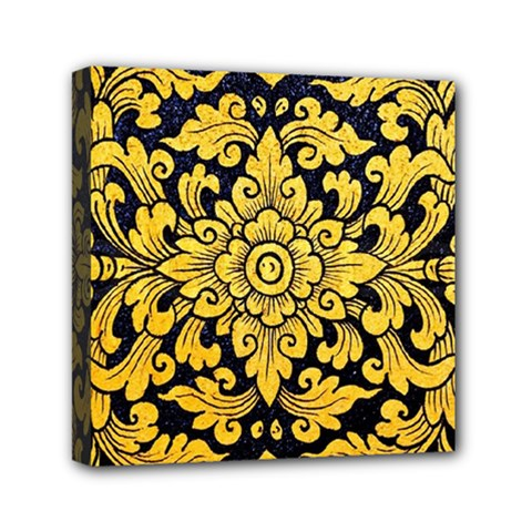 Flower Pattern In Traditional Thai Style Art Painting On Window Of The Temple Mini Canvas 6  X 6