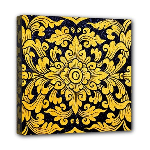 Flower Pattern In Traditional Thai Style Art Painting On Window Of The Temple Mini Canvas 8  X 8