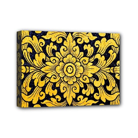 Flower Pattern In Traditional Thai Style Art Painting On Window Of The Temple Mini Canvas 7  X 5