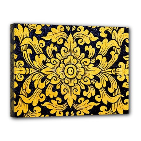 Flower Pattern In Traditional Thai Style Art Painting On Window Of The Temple Canvas 16  X 12