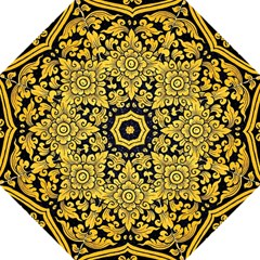 Flower Pattern In Traditional Thai Style Art Painting On Window Of The Temple Folding Umbrellas