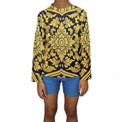 Flower Pattern In Traditional Thai Style Art Painting On Window Of The Temple Kids  Long Sleeve Swimwear