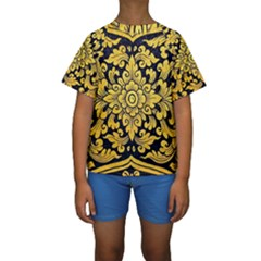 Flower Pattern In Traditional Thai Style Art Painting On Window Of The Temple Kids  Short Sleeve Swimwear