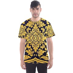 Flower Pattern In Traditional Thai Style Art Painting On Window Of The Temple Men s Sport Mesh Tee