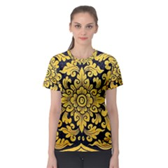Flower Pattern In Traditional Thai Style Art Painting On Window Of The Temple Women s Sport Mesh Tee