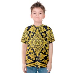 Flower Pattern In Traditional Thai Style Art Painting On Window Of The Temple Kids  Cotton Tee