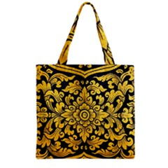 Flower Pattern In Traditional Thai Style Art Painting On Window Of The Temple Grocery Tote Bag