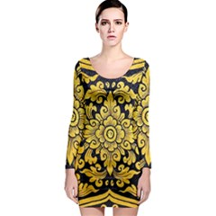 Flower Pattern In Traditional Thai Style Art Painting On Window Of The Temple Long Sleeve Bodycon Dress