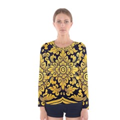 Flower Pattern In Traditional Thai Style Art Painting On Window Of The Temple Women s Long Sleeve Tee