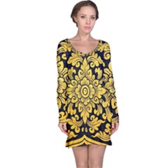 Flower Pattern In Traditional Thai Style Art Painting On Window Of The Temple Long Sleeve Nightdress