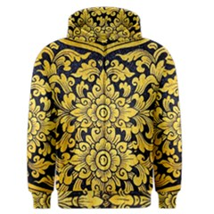 Flower Pattern In Traditional Thai Style Art Painting On Window Of The Temple Men s Zipper Hoodie