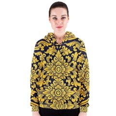 Flower Pattern In Traditional Thai Style Art Painting On Window Of The Temple Women s Zipper Hoodie