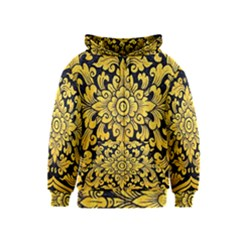 Flower Pattern In Traditional Thai Style Art Painting On Window Of The Temple Kids  Zipper Hoodie