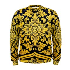 Flower Pattern In Traditional Thai Style Art Painting On Window Of The Temple Men s Sweatshirt
