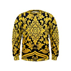 Flower Pattern In Traditional Thai Style Art Painting On Window Of The Temple Kids  Sweatshirt