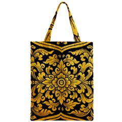 Flower Pattern In Traditional Thai Style Art Painting On Window Of The Temple Zipper Classic Tote Bag