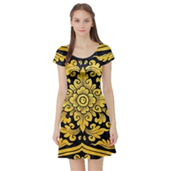 Flower Pattern In Traditional Thai Style Art Painting On Window Of The Temple Short Sleeve Skater Dress