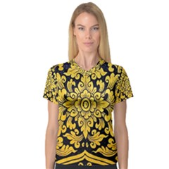 Flower Pattern In Traditional Thai Style Art Painting On Window Of The Temple Women s V-Neck Sport Mesh Tee