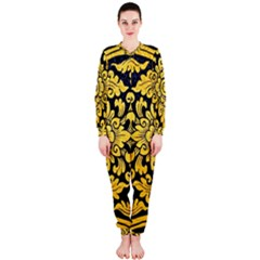 Flower Pattern In Traditional Thai Style Art Painting On Window Of The Temple OnePiece Jumpsuit (Ladies)