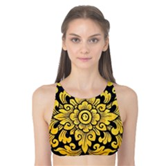 Flower Pattern In Traditional Thai Style Art Painting On Window Of The Temple Tank Bikini Top