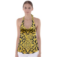 Flower Pattern In Traditional Thai Style Art Painting On Window Of The Temple Babydoll Tankini Top