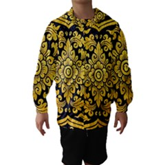 Flower Pattern In Traditional Thai Style Art Painting On Window Of The Temple Hooded Wind Breaker (Kids)