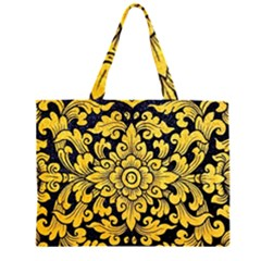 Flower Pattern In Traditional Thai Style Art Painting On Window Of The Temple Zipper Large Tote Bag