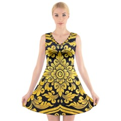 Flower Pattern In Traditional Thai Style Art Painting On Window Of The Temple V-Neck Sleeveless Skater Dress